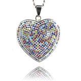 De Halsband van de Diamant van de Halsband van de Tegenhanger van de Diamant van het Kristal van de Vorm van het Hart van het Roestvrij staal van de manier