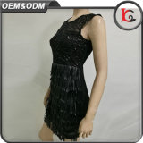 中国製カスタマイズされた黒いPailletteの女性の服の上品な女性のふさのイブニング・ドレス
