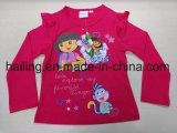 T-shirt longo de Dora da luva das meninas CVC