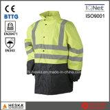 Alta Visibilidade Mens reflexiva impermeável Jacket Parka Segurança