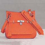 Damen brannten Handtasche 100% echtes Leder Shouler Beutel mit Verschluss Emg4900 ein