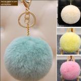 공장 도매 다채로운 실제적인 토끼 푹신한 심혼 모피 POM Poms 또는 공