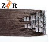 Grampo de cabelo europeu desenhado natural da cor de Brown na extensão do cabelo humano