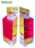 Présentoir en carton en laiton en laiton avec 4 étagères, présentoir en papier de supermarché pour boisson