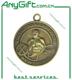 아연 합금은 정지한다 고대 금관 악기 도금 (뒤떨어지 메달 04)를 가진 주물 3D 메달을