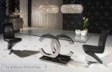 Современный обеденный стол с отделкой из закаленного стекла из нержавеющей стали