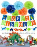 Het Document van Umiss bloeit Uitrusting van de Decoratie van de Verjaardag van de Dinosaurus van de Levering van de Partij van de Dinosaurus de Gelukkige