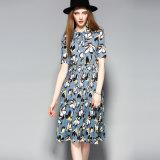 Floral Print Plissé Lace-up Collar Femmes Robe de fête avec bouton-bas