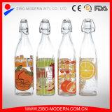 Venda por grosso de 1 litro Design Personalizado Grau Alimentício Garrafas de água de vidro