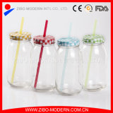 32oz Drinking Glass Mason Jar con Handle e Color Metal Lid
