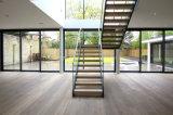 Modern Design Interior Steel Straight Staircase para casa residencial com madeira maciça