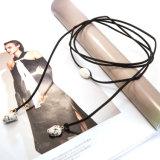 Collana naturale del Choker della pietra DIY di irregolarità di cuoio beige nera lunga