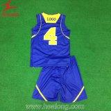 バスケットボールセットのメッシュ生地とのHealongの青および黄色の完全な昇華