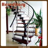 屋内木は螺旋階段歩むPVC手すり(SJ-S002)が付いている穏やかな鋼鉄