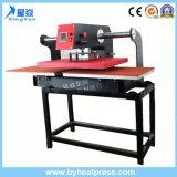 Vidro corrediço de planície pneumática prensa de calor para os produtos têxteis