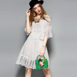 Белым полым флористическим верхняя часть шнурка & платье Co-Ord юбки плиссированные Hemline