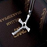 18inch 925純銀製の鎖のネックレスの高品質の宝石類が付いている女性925の純銀製の十字の吊り下げ式のネックレス