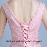 Longue V robe formelle de bal d'étudiants de soirée de lacet de collet des femmes