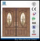 Double porte d'entrée extérieure avant économiseuse d'énergie isolée de fibre de verre de main en verre Tempered de lame petit par art ovale
