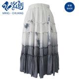Серый и белый Slimmering-Waist Peated мягкой хлопковой прямые длинные юбки