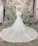 長い袖のカテドラルのトレインのシフォン適合および火炎信号のウェディングドレス