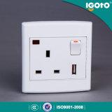 홈을%s 네온 사용을%s 가진 영국 기준 1gang 13A USB에 의하여 전환되는 소켓