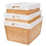 Três peças Custom-Made cestos de aninhamento de bambu com camisas de lona de algodão