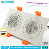 lámpara blanca de aluminio natural Dimmable LED Downlight del techo del poder más elevado LED de la casilla blanca 6W