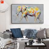 漫画かわいい動物の多彩な象のキャンバスの油絵