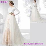 서쪽 호화스러운 유행 긴 소매 신부 백색 레이스 결혼 예복