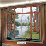 Finestra di vetro di colore del rivestimento della polvere di profilo della stoffa per tendine di legno di alluminio del blocco per grafici con la parte superiore fissa dell'arco