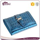 Малое портмоне, кожаный повелительница Бумажник, голубой бумажник неподдельной кожи зажима пояса зерна крокодила