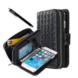 Deluxe PU Leather Folio Wallet Case Cover para iPhone 6