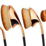 Rosen-goldener Farben-Zahnbürste-Form-ovaler Verfassungs-Pinsel-Vielzweckberufsbasis-Puder-Pinsel-Installationssätze
