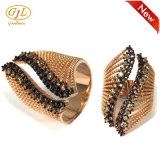 925 Anillo de plata de la Mujer Ronda de joyas de moda CZ anillos de diamante negro S3376
