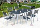 9 partes do jogo ao ar livre ajustado da mobília da mesa de madeira plástica da cadeira