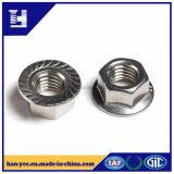 Noix en acier galvanisée de bride avec la garniture intérieure de moletage et de nylon