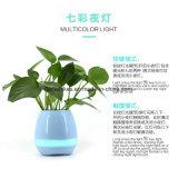 Crisol de flor con el altavoz de Bluetooth y la lámpara del LED