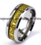 El anillo de madera embutido del acero inoxidable conmemora el anillo de la joyería (SSR2708)