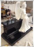 Высеканные сидя белые мраморный памятники мемориалов Gravestones надгробных плит стенда ангела