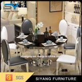 Table à manger en marbre blanc rond Table en acier inoxydable