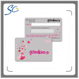 Cartão de presente de PVC de tamanho de cartão de impressão