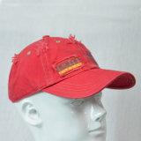 赤6のパネルの綿は帽子プリント野球帽を洗浄した