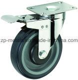 Mittelgrosse zweiachsige PU-Fußrollen-Räder mit Bremse