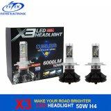 자동차 점화 50W 6000lm X3 LED 헤드라이트 전구 H4 H13 9004 H1 H3 H7 H11 9005 6000K