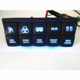 6 Gang 12V / 24V impermeable Rocker Switch Panel con LED azul para barco marino caravana + fusibles auto