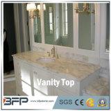 Dessus jaune commercial de vanité de salle de bains de bassin de granit d'hôtel