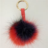 O Pompom da pele do falso da pele POM Keychain Assorted Pompons coloridos