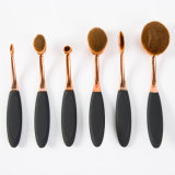 6PCS Negro del óvalo del oro del cepillo de dientes de maquillaje profesional de los cepillos Conjuntos