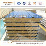 el panel de emparedado de la pared de las lanas de roca del aislante termal de la densidad 80kg/M3